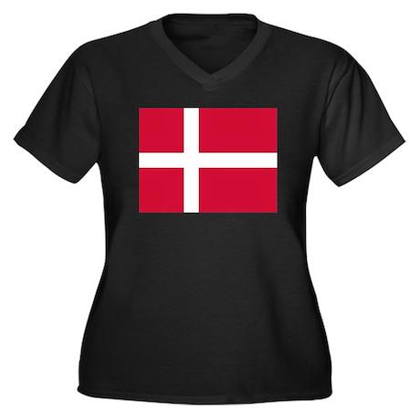 Denmark Flag Women's Plus Size V-Neck Dark T-Shirt