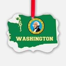 Washington State Flag and Map Ornament