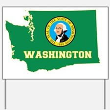 Washington State Flag and Map Yard Sign
