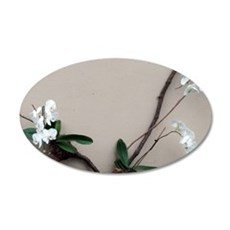 Wall of White Orchids 35x21 Oval Wall Decal