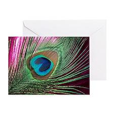 Magenta Peacock Greeting Card