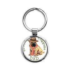 shar-pei dad Round Keychain