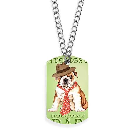 bulldog dad-card Dog Tags