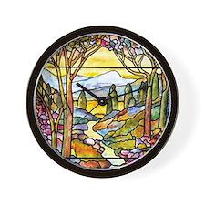 Tiffany Landscape Window Wall Clock