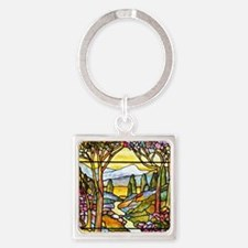Tiffany Landscape Window Square Keychain