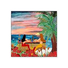 "Mermaid Tiki Sunset Wine Ba Square Sticker 3"" x 3"""