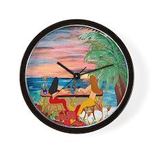 Mermaid Tiki Sunset Wine Bar Wall Clock