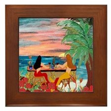 Mermaid Tiki Sunset Wine Bar Framed Tile