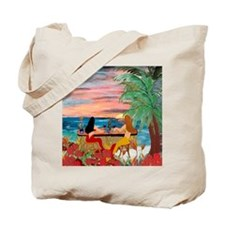 Mermaid Tiki Sunset Wine Bar Tote Bag