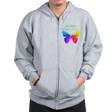 Autism Butterfly, different, not less Zip Hoodie