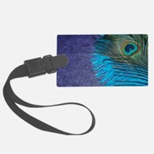 Purple and Teal Peacock Luggage Tag