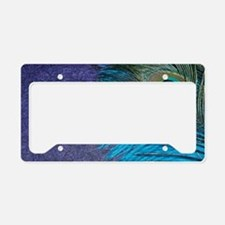 Purple and Teal Peacock License Plate Holder