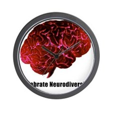 Celebrate Neurodiversity Red white Wall Clock