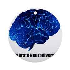 celebrate neurodiversity blue white Round Ornament