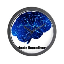 celebrate neurodiversity blue white Wall Clock