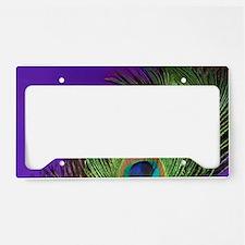 Purple Foil Peacock License Plate Holder