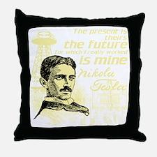The Future Is Teslas Throw Pillow