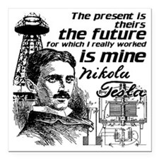 "The Future Is Teslas Square Car Magnet 3"" x 3"""
