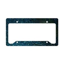 Glittery Aqua Peacock License Plate Holder