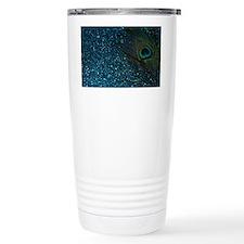 Glittery Aqua Peacock Travel Coffee Mug
