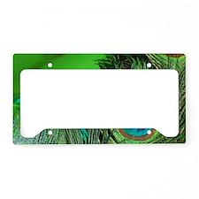 Green Foil Peacock License Plate Holder