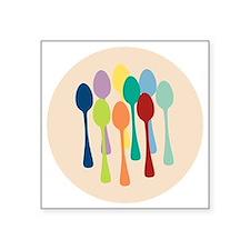 "spoons-sp13 Square Sticker 3"" x 3"""