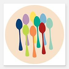 "spoons-sp13 Square Car Magnet 3"" x 3"""