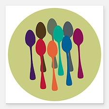 "spoons-fl13 Square Car Magnet 3"" x 3"""