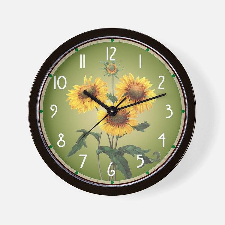 Redoute Sunflowers Wall Clock