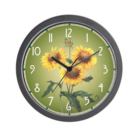 Charming Redoute Sunflowers Wall Clock