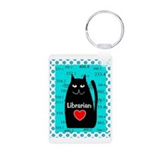 librarian cat blanket teal Keychains