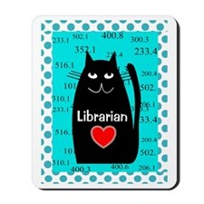 librarian cat blanket teal Mousepad