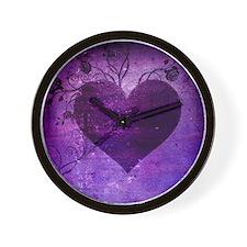 Bad Romance 09 Purple Heart Grunge Wall Clock