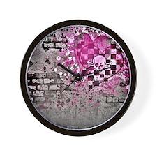 Punk You 7 Hearts Skull Wall Clock