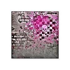 """Punk You 7 Hearts Skull Square Sticker 3"""" x 3"""""""