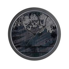 Punk You 16 Skulls Black and White Wall Clock
