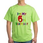 6th Birthday Green T-Shirt