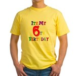 6th Birthday Yellow T-Shirt