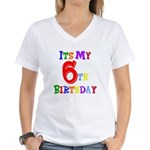 6th Birthday Women's V-Neck T-Shirt