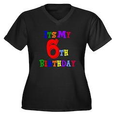 6th Birthday Women's Plus Size V-Neck Dark T-Shirt