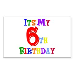 6th Birthday Rectangle Decal