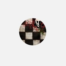 Punk You 9 Checkers Skulls Roses Mini Button