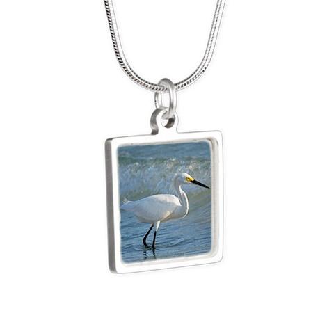 Snowy egret Silver Square Necklace