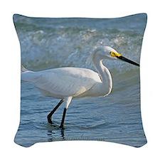 Snowy egret Woven Throw Pillow