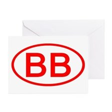 BB Oval (Red) Greeting Cards (Pk of 10)