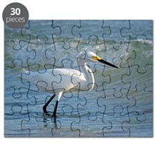 Snowy egret on the beach Puzzle