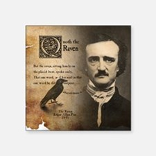 "Edgar Allan Poe and Raven N Square Sticker 3"" x 3"""