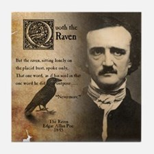 Edgar Allan Poe and Raven Nevermore Tile Coaster