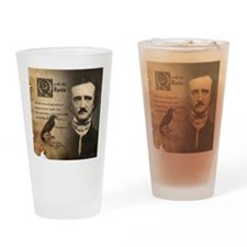 Edgar Allan Poe and Raven Nevermore Drinking Glass
