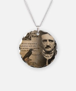 Edgar Allan Poe and Raven Ne Necklace Circle Charm